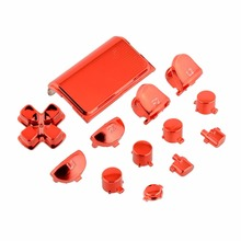 Gasky Full Buttons Mod Kits Chrome Red For PS4 Video Game Console Controller Gamepad Joystick Replacement Accessories Boy Kid