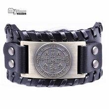 My Shape Handmade Braided Genuine Leather Braclets Bangles Nordic Rune Religion Solomon Amulet Viking Bracelet Adjustable Strap