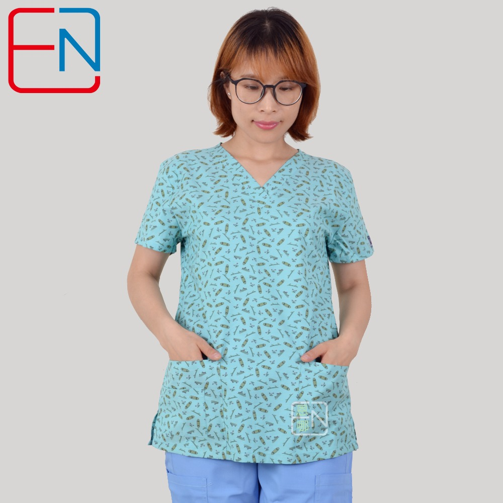 NEW Hennar Women Scrub Top With V Neck 100% Cotton Surgical Scrubs Top Limited Surgical Scrub Tops