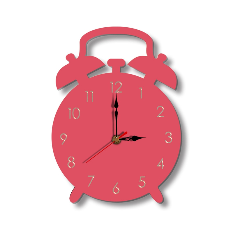 Alarm Clock Mute Shape Wooden Cartoon Wall Clocks Decoration Birthday Present Children'S Room Living Room Wall Decor 1Piece