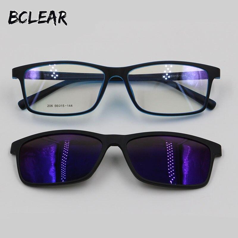 BCLEAR TR90 monture de lunettes miroir polarisées Anti-Réfléchissant UV400 soleil lentille clip sur mode optique cadre lunettes de prescription