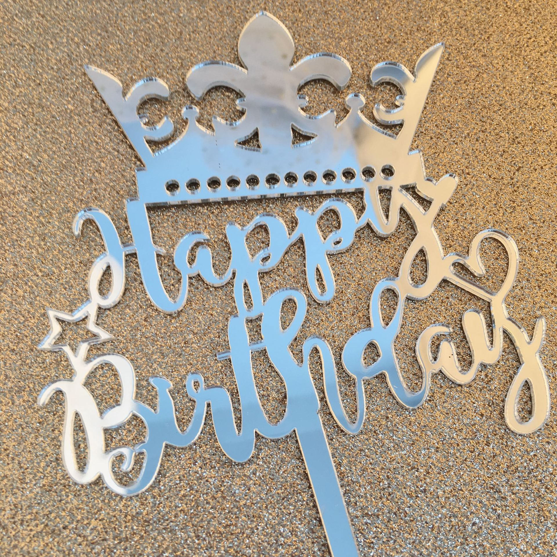 5pcs Crown Happy Birthday Acrylic Cupcakes Cake Toppers Baby Shower for Girl Happy Birthday Cake Party Cake Decorating Tool in Cake Decorating Supplies from Home Garden
