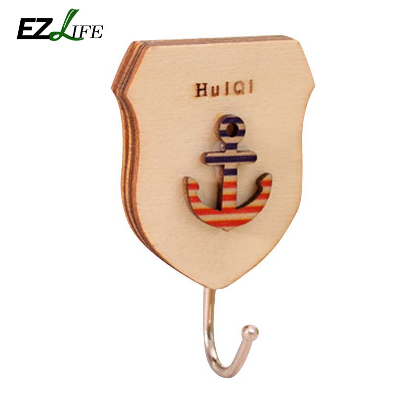 1pc Cartoon wall wooden door bearing strong sticky hooks key holder organizer for home decoration HD0231