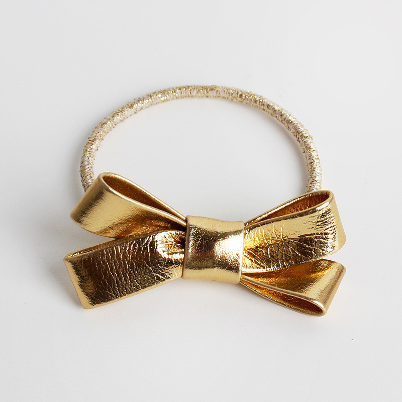 #61113 Quality PU Bow Hair Accessories pajarita gomas para el pelo golden/sliver elastic bands baby girls hair bows tie