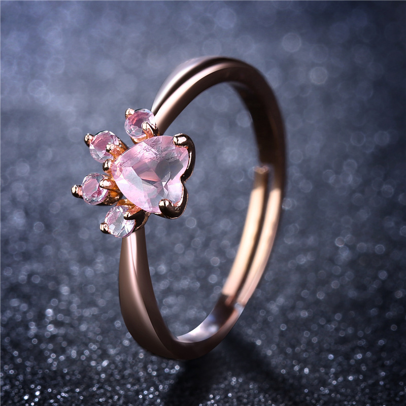 Cute Paw Opening Adjustable Ring Rose Gold Bear Cat Claw Rings for Women Romantic Wedding Pink Crystal Love Gifts Jewelry