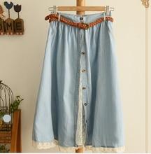 Эластичный пояс кнопки лоскутное кружева твердые джинсовые юбки мори девушка