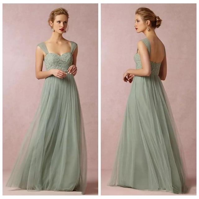 sage green prom dress aline sweerheart floor length