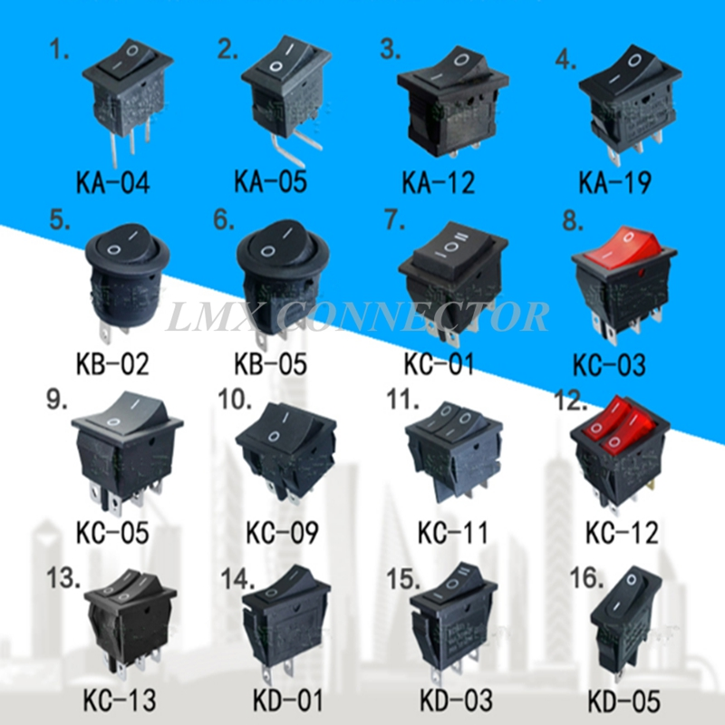 1Pack 16PCS 16 Types Rocker Switches ON OFF Ship type switch For ...