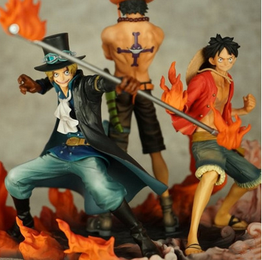 three brothers luffy Ace Sabo pirates family scene handcraft ornament vertical group collection toys action figure