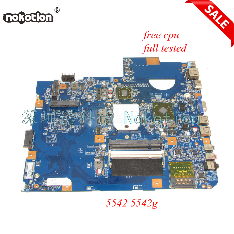 NOKOTION 48.4FN01.011 Main board For acer Asipre 5542 laptop motherboard DDR2 HD 4500 full tested nokotion laptop motherboard for acer aspire 5542 main board mbpha01001 48 4fn01 011 216 0752001 ddr2 free cpu