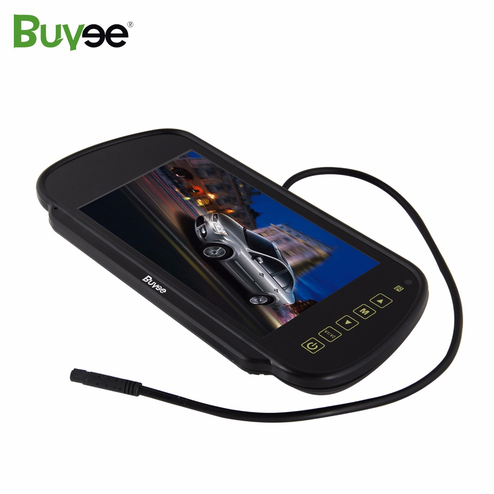 Buyee 7 inch TFT LCD HD CAR MIRROR MONITOR Rearview display for Parking Reverse Rear View Camera auto monitor Touch screen 2 AVs buyee 7 inch tft lcd car reversing rearview display monitor 1 2 4 split screen for car parking rear view camera 4 av inputs