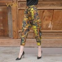 VOA 100% шелк дамские шаровары Девятый брюки для девочек повседневное штаны карандаш со средней посадкой низ свободные дамы Broeken уличная pantalon