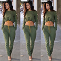 2017 New Autumn New Long Sleeve Crop Top With Pants 2 Pieces Suit Casual Autumn Tracksuits Women Outfits