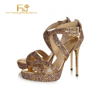 Women's Gold Glitter Shoes Open Toe Platform Sandals Evening Shoes Party High Heel Sandals Fashion Buckle Strap Sexy Ladies Shoe