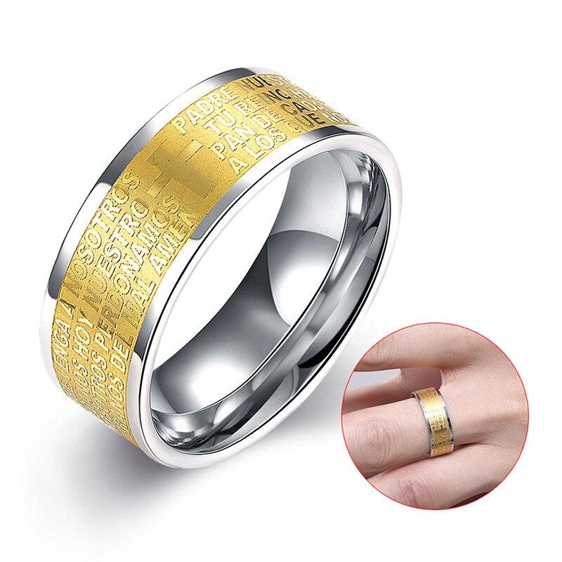 new fashion jewelry titanium steel electroplating yellow ring men creative word anniversary wedding rings 88 m8694 - Creative Wedding Rings