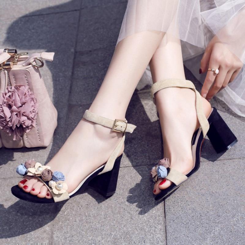 2019 verano elegante flor patrón negro caqui mujeres tacones altos sandalias 7,5 cm tacones gruesos zapatos de boda F699-in Sandalias de mujer from zapatos    1