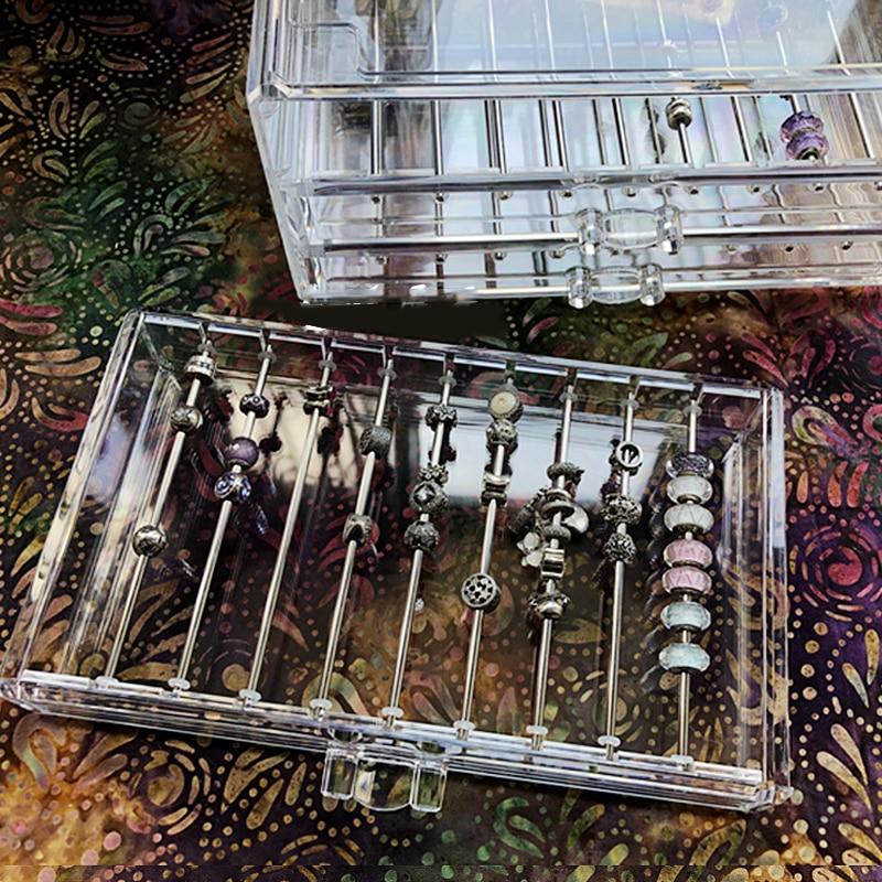 Boîte à bijoux Extractive Tobes boîte est adapté pour les boîtes de perles conteneurs de stockage de perles organisateur boîte de rangement en plastique acrylique