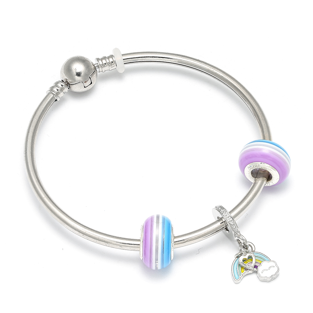 Missita Cute Style Rainbow Pendant Charm Bracelets Murano Gl Beads For Women Children Brand Jewelry Gift Gold Charms
