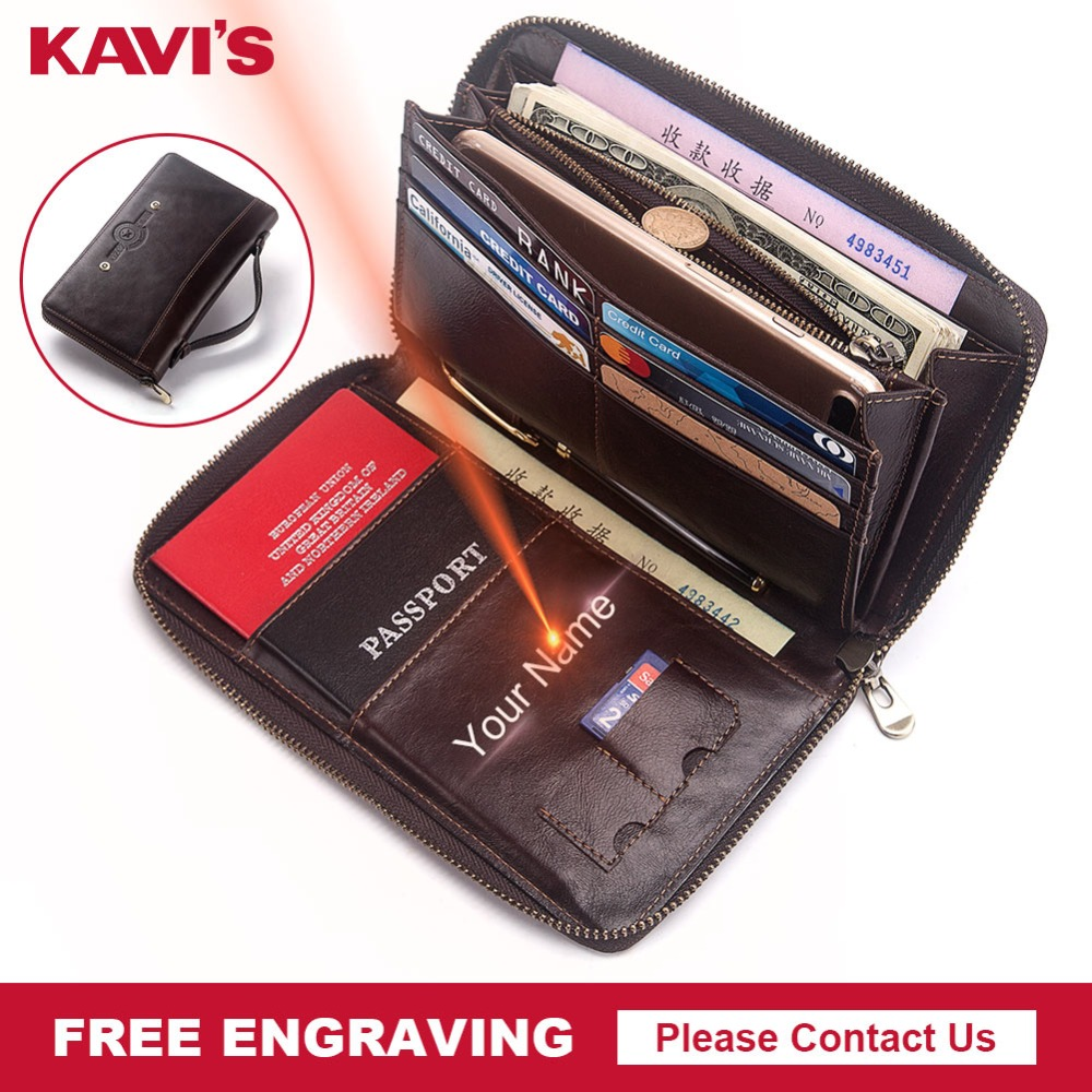 KAVIS Free Engraving Large Capacity Genuine Leather Long Men Coin Purse Clutch Wallet Portomonee PORTFOLIO Handy and Cell Phone