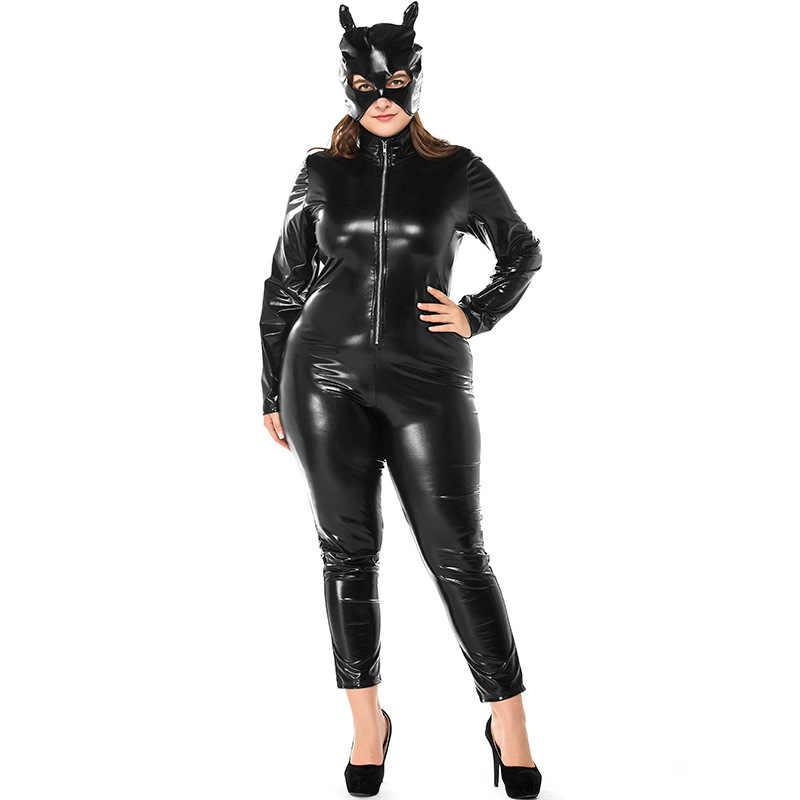 19efd66fada Fat Lady Costumes Plus Size Sexy Cat Woman Black Artificial Leather Jumpsuit  Mask 2Pcs Set Halloween