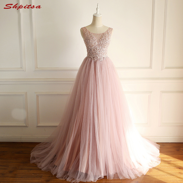 Beautiful Pink Lace Evening Dresses Long Women Beaded Wear Party Prom  Formal Evening Gowns Dresses robe de soiree longue 7c78813f14d1