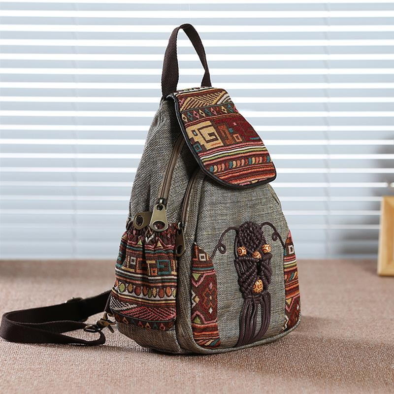 para meninas mini mochila estilo nacional geométrico impresso lona bagpack