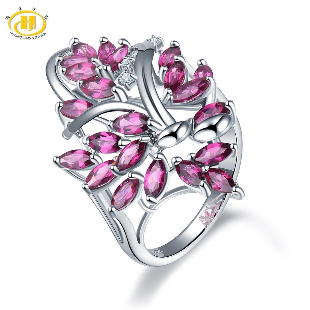 Hutang Rhodolite Garnet Rings 925 Silver Natural Gemstone Topaz Engagement Ring Fine Elegant Jewelry for Women's Best Gift New