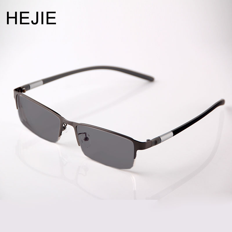 HEJIE Men Metal Photochromic Reading Glasses Half Rim Anti-scratch Coating Lens Diopter+0.25+0.75+1.0+1.25+1.5+1.75 to +4.0 Y442
