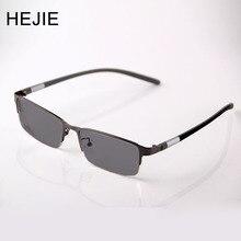 5351924bb8a5 HEJIE Men Metal Photochromic Reading Glasses Half Rim Anti-scratch Coating  Lens