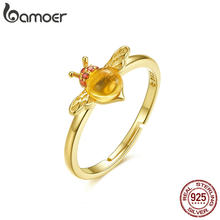 BAMOER Baby Bee Adjustable Ring for Women 925 Sterling Silver Red CZ Big Stone Finger Ring Anti-allergy Korean Jewelry BSR034(China)