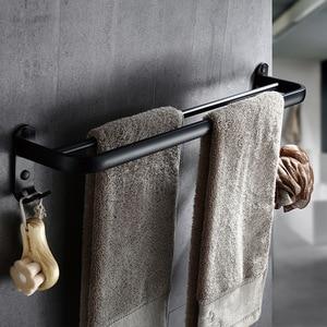 Image 5 - Bathroom 50cm double Bar Black Towel Rack Wall mounted Black Toilet Space Aluminum Towel Bar with Hook Bathroom Accessories