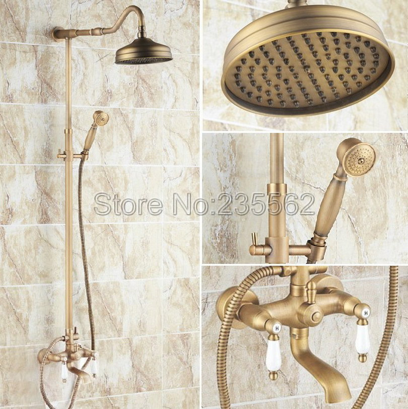 Wall Mounted 8 Shower Head Shower Rainfall Faucet Set with Handheld Antique Brass Finish In-wall Shower Mixer Taps lrs115