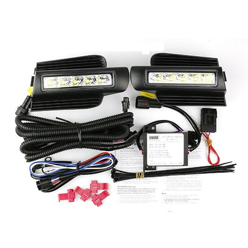 2 шт. светодиодный DRL дневные ходовые огни Противотуманные фары для вождения бампера подходит для Toyota Land Cruiser Prado 120 GRJ120 TRJ120 FJ120 2003-2009