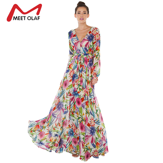 4fa91eb909 1Pc Women Tropical floral Print Deep V Long Sleeve Maxi Dress Wrap Tie  Waist Long Lantern Sleeve Boho Beach Wear Dresses 1B058