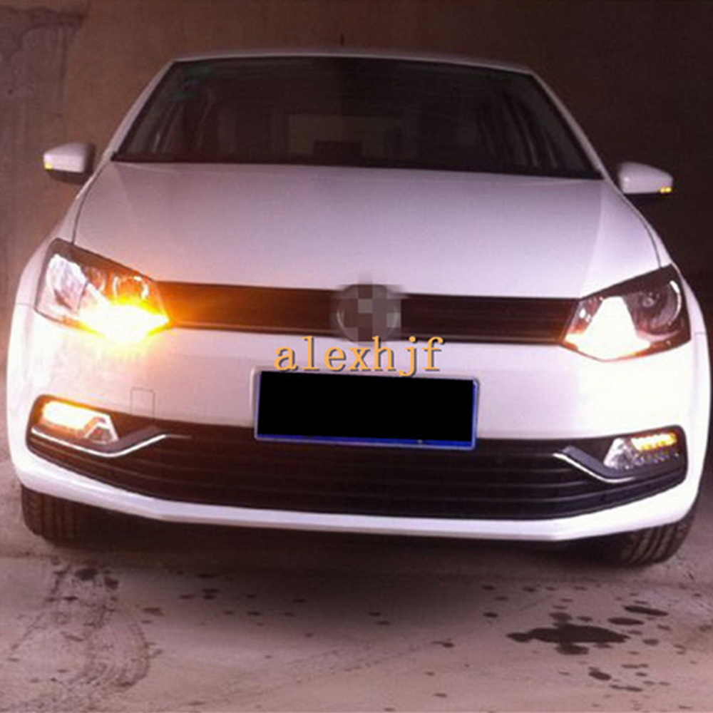 July King LED Daytime Running Lights DRL LED Yellow Turn Signals Case for Volkswagen POLO 2014~ON, LED Fog Lamp, 1:1 replacement 1set car accessories daytime running lights with yellow turn signals auto led drl for volkswagen vw scirocco 2010 2012 2013 2014