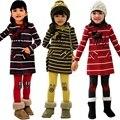Bebê meninas roupas set 2016 crianças Bowknot Stripe Tops T-shirt + Calças Compridas conjunto de roupas meninas roupas de inverno agasalho boa