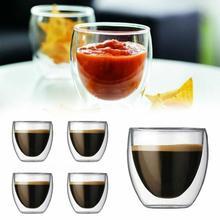150/250/350/450ML Double Wall Glass Borosilicate Cup Clear Coffee Tea Mug Cups