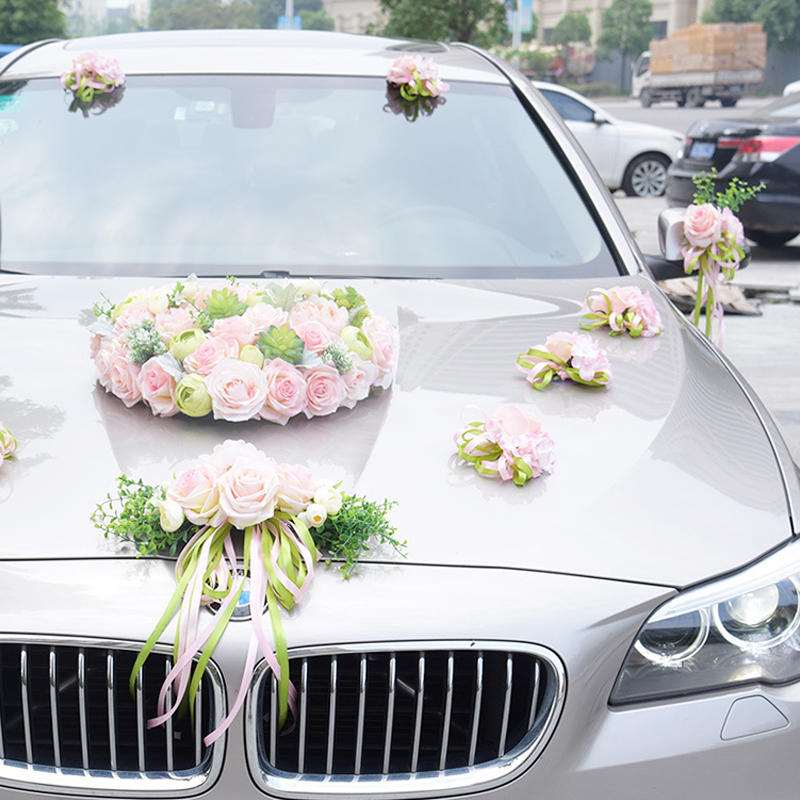 12 Colors Wed Wedding Car Decoration Flower Door Handles and Rearview Mirror Decorate Free Shipping