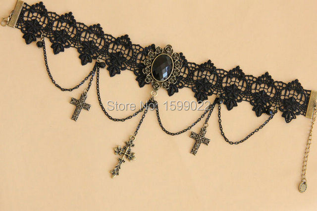 Goth Crucifix Bronze Pendant Jesus Jewelry Christian Necklace Woman Black  Rhinestone Lace Woman Choker Victorian Wedding Jewelry-in Choker Necklaces  from ... 812484e07759
