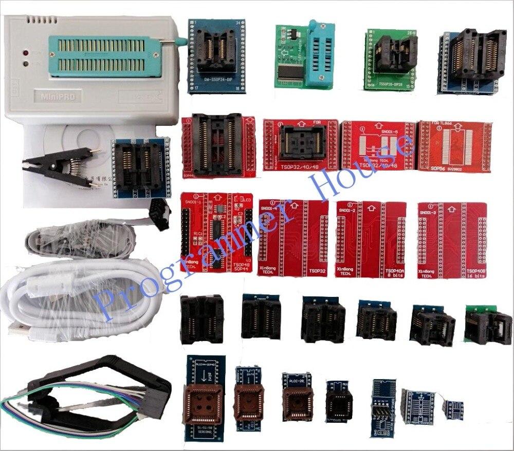Original V8 51 TL866II Plus TL866A TL866CS USB Universal Programmer Bios ECU Programmer 29adapters 1 8V