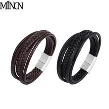 MINCN New Genuine Braided Leather Bracelet Men Women Magnetic Clasp Stainless Steel Male Bracelets Punk Jewelry