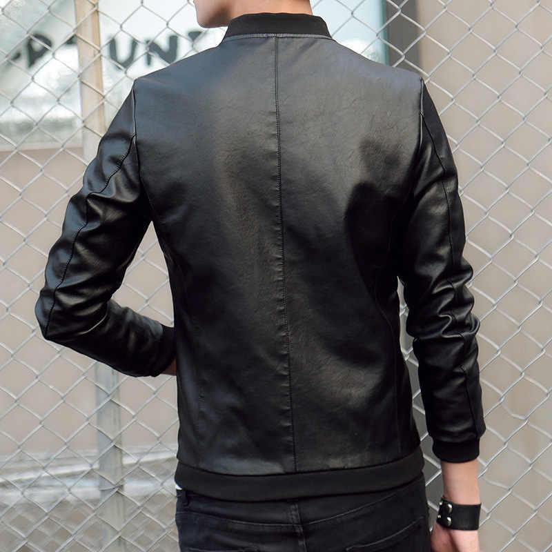 Bomberjack Mannen Herfst Winter Lederen Jas Baseball Jacket Slim Fit Lederen Jassen Fashion Casual Uitloper voor Man Jas 2019