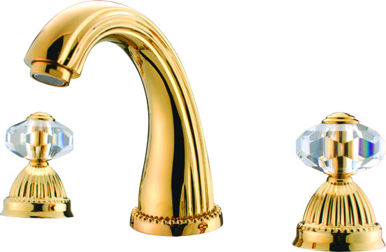 Free shipping 3 pcs widespread bathroom lavatory sink - Gold bathroom faucets with crystal handles ...
