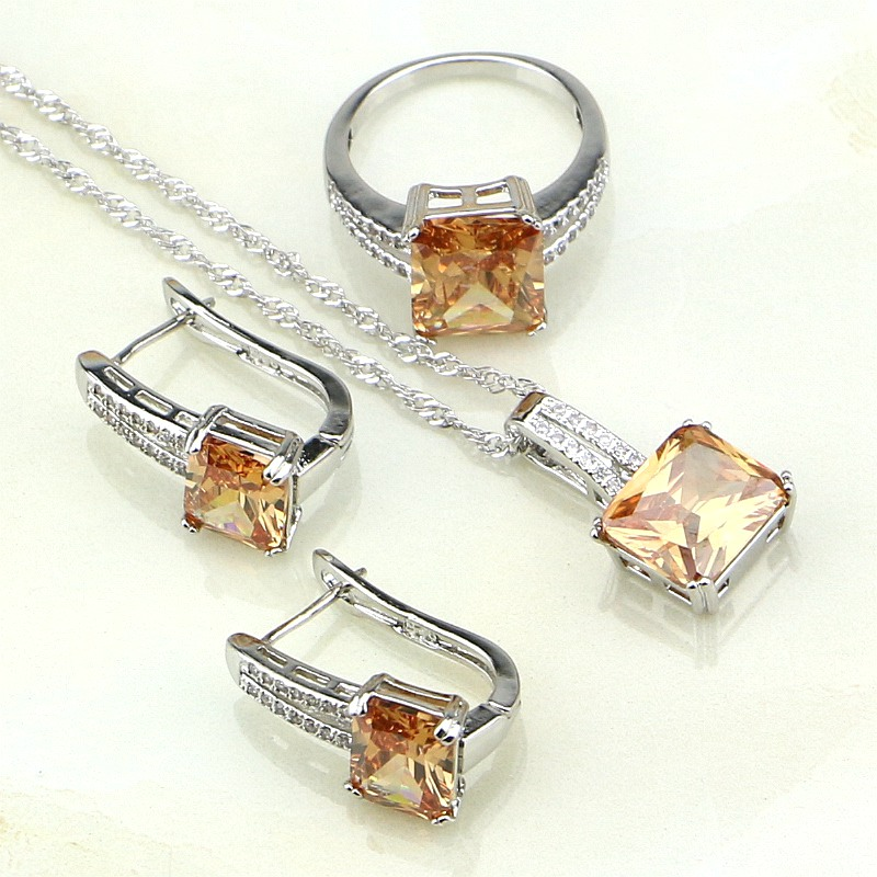 925-Sterling-Silver Jewelry Necklace/ring Cubic-Zirconia Women White CZ for Champagne