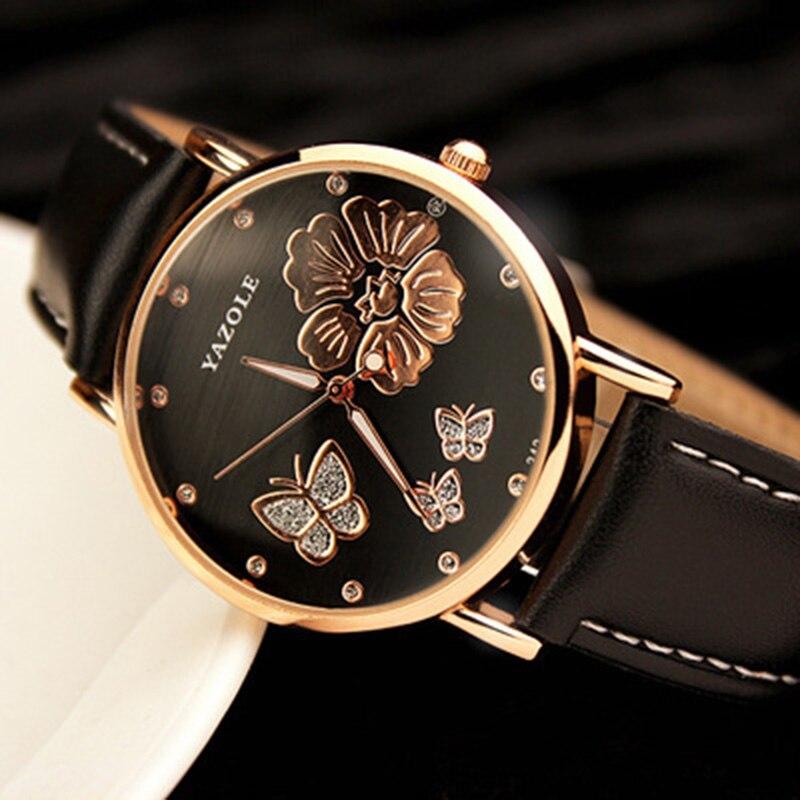 2018 neue Mode Yazole Schmetterling Blume Bling Echtem Leder Quarz Hochzeit Armbanduhren Armbanduhr Frauen Montres Femme