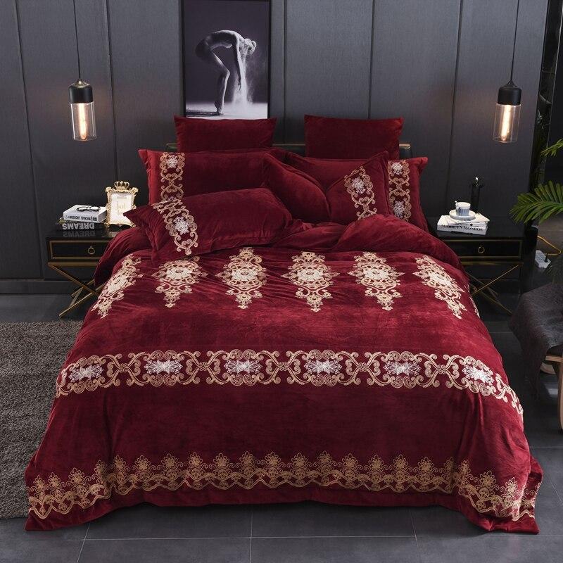 Red Wine Luxury European Style Royal Embroidery Winter Thick Velvet Flannel Bedding Set Duvet Cover Bed Linen/sheet Pillowcases