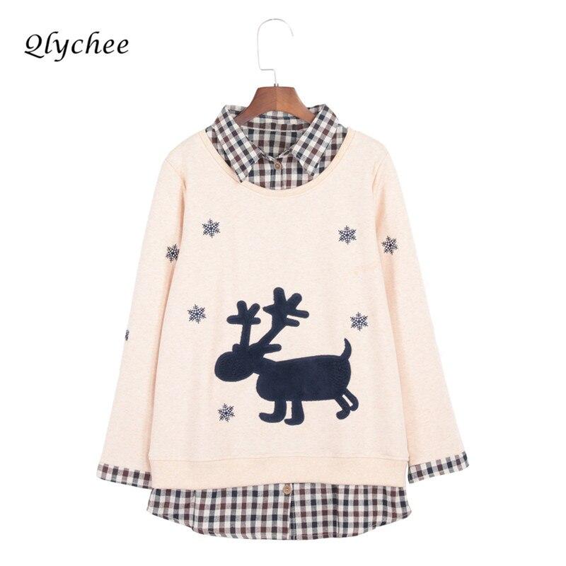 Qlychee Snowflake Deer Embroidery Women Sweatshit Plaid Patchwork Pullover Female Long Sleeve Fake Two Pieces Hoodies Sweatshirt