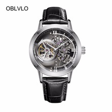 OBLVLO Casual Watches Mens Skeleton Dial Calfskin Leather Band Steel Watches Automatic Watches for Men OBL8238