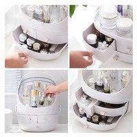 Portable Storage Cosmetic Case Women Makeup Organizer Box Brush Holder Jewelry Case Multi functional Drawer Type Storage Boxes