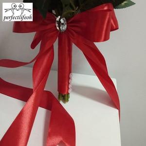 Image 5 - Perfectlifeoh باقة الزفاف الديكور زهور الورد باقة الزفاف الأبيض الساتان رومانسية الزفاف الزهور باقات الزفاف